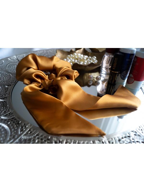 Gumka do włosów jedwabna Maxi ze wstążką złota