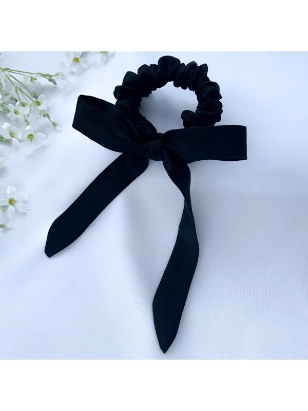 Gumka do włosów jedwabna Mini ze wstążką czarna